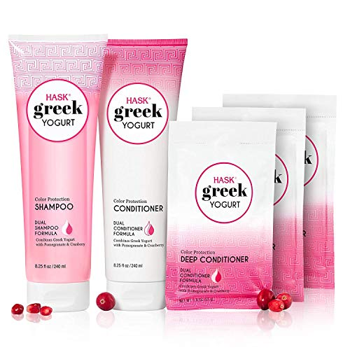 HASK Shampoo and Conditioner Greek Yogurt Color Protection gluten free, sulfate free, paraben free - Cranberry & Pomegranate 1 Shampoo, 1 Conditioner and 3 Deep Conditioning Treatments