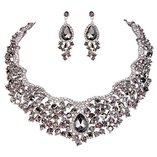 (EVER FAITH Women's Austrian Crystal Flower Cluster Teardrop Necklace Earrings Set Black Silver-Tone)