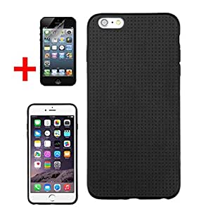 """APPLE IPHONE 6 PLUS 5.5"""" BLACK PERFORATED MESH CANDY SKIN COVER SOFT GEL PROTECTOR CASE + SCREEN PROTECTOR from Preferred Fashion Network"""