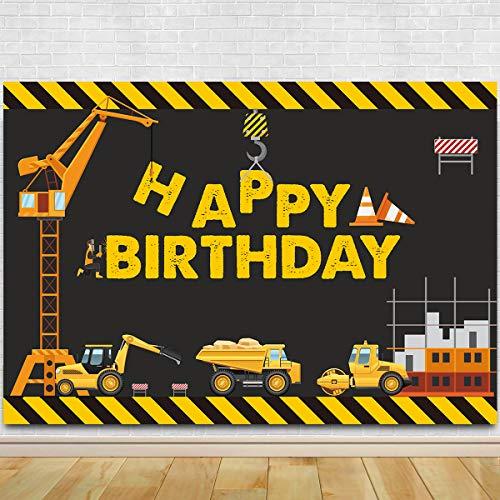 Construction Theme Birthday Party Photography Backdrop - Dump Truck Birthday Background Cake Table Boy Birthday Decorations ()