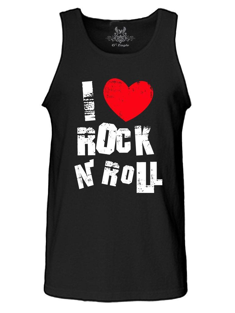 Gs-eagle Men's M0251TT Printed I Love Rock N Rock Tank Top Miduem Black