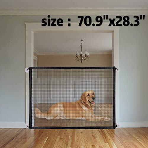 """Price comparison product image 70.9""""x28.3""""Magic Gate for Dogs,  Pet Gate, Magic Gate Portable Folding mesh gate Safe Guard Isolated Gauze Indoor and Outdoor Safety Gate Install Anywhere for Dogs"""