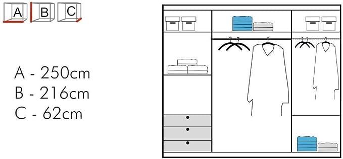 Sliding Wardrobe 4U Espejo doble puerta corredera gris armario luz LED Opción 90/120/150/180/203 cm, Gris, 250 cm: Amazon.es: Hogar