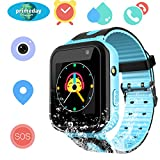 Kids Waterproof Smart Watch for Girls Boys - IP67 Water-resistant Children Smartwatch with GPS/LBS Tracker SOS Camera Anti-lost Game for Summer Outdoor Swim Pool Bath Sports Watch Phone (02 S7 Blue)