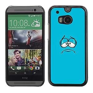 Cubierta de la caja de protección la piel dura para el HTC ONE M8 2014 - blue cartoon face aqua minimalist