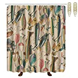 Fishing Lure Shower Curtain OKAYDECOR Mildew Resistant Bath Curtain Hooks - Fishing Lure Style Shower Curtains - Waterproof Polyester Fabric Bathroom Decor - 72