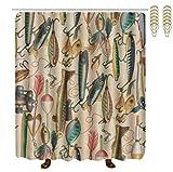 Fishing Lure Shower Curtain Hooks OKAYDECOR Mildew Resistant Bath Curtain Hooks - Fishing Lure Style Shower Curtains - Waterproof Polyester Fabric Bathroom Decor - 72