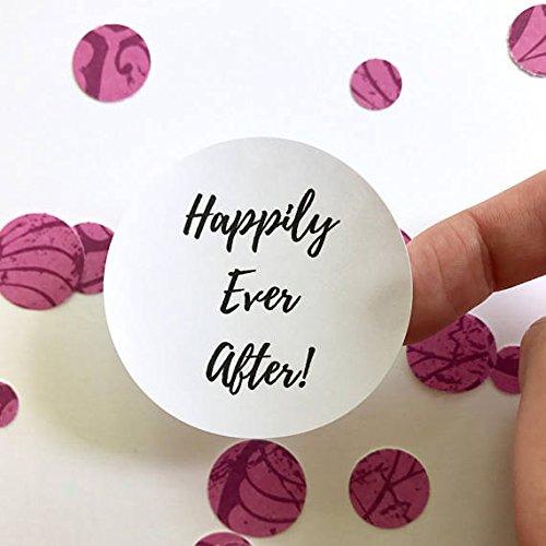 40 Happily Ever After Sticker | Wedding Favor Bag Circle Sticker Label | Thank You Round Gift Bag Favor Seal | Cards Envelopes (Petal Envelopes)