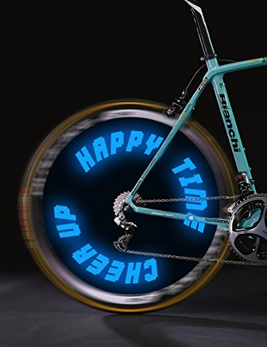 Words and Graph Programmable Bike Wheel Lights -Wireless Custom Message,Ultra Bright LED - Bicycle Wheel Spoke / Colorful Bicycle Tire Accessories- Waterproof - Custom Bicycle Wheels