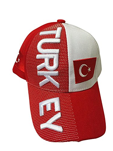 Baseball Caps Hats with Five 3D Embroideries - Countries of Europe (3-Pack, Country: Turkey)