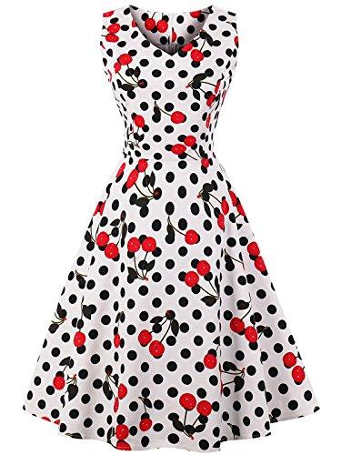 FAIRY COUPLE 1950S Vintage Rockabilly Lunares Vestido de Baile DRT072(M,Blanco Cereza Puntos)