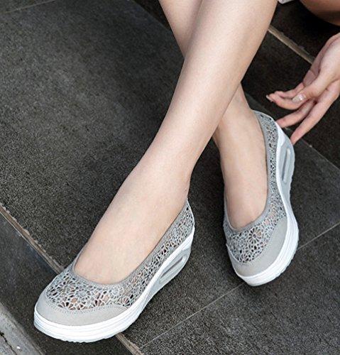 Yiiquanan Femmes D'été Maille Casual Slip sur Baskets Paresseux Chaussure Hauteur Augmenter Shallow Bouche Bas-Top Shake Chaussures Gris m2gWOylJ