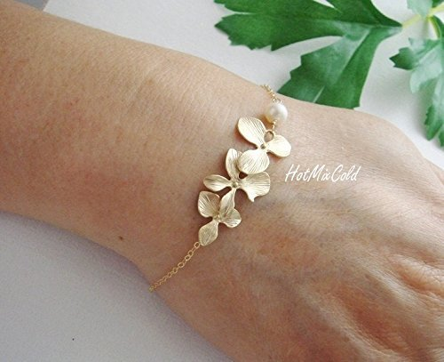 Pearl Initial Bracelet (Gold Orchid Flowers Bracelet and White Pearl, Gold Fill Bracelet, Birthday, Anniversary, Wedding Bracelet, Silver or Rose Gold Bridesmaid Jewelry)