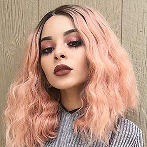 (Hot Sale! Pink Wigs,Brazilian Women Party Cosplay Short Wavy Curly Hairpiece High Temperature Fiber Synthetic Wig Hair)