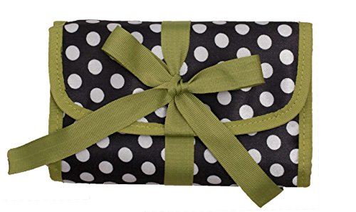 ORB Travel-JP100-A-Polka Dots-Black/Green-Jewellery organizer roll cosmetic bag accessories travel bag ()
