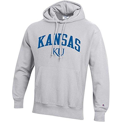 Elite Fan Shop Kansas Jayhawks Reverse Weave Hooded Sweatshirt Gray - ()