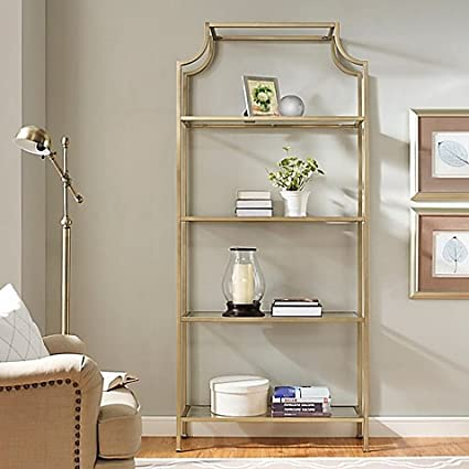 Outstanding Amazon Com Crosley Aimee Narrow Etagere In Gold Kitchen Home Interior And Landscaping Ymoonbapapsignezvosmurscom