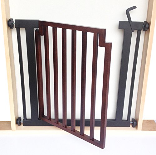 Fitzgerald Dog Gate - 32'' Tall X 34''-39'' Wide - Hardwood door / Black frame by NMN Products