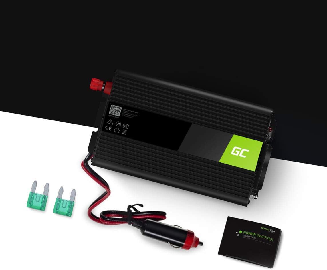 Corps en Aluminium Green Cell/® 2000W//4000W Pur Sinus Convertisseur de Tension DC 24V AC 230V Power Inverter sinuso/ïdale Onduleur Transformateur avec Connection USB et Pinces pour Batterie de Voiture