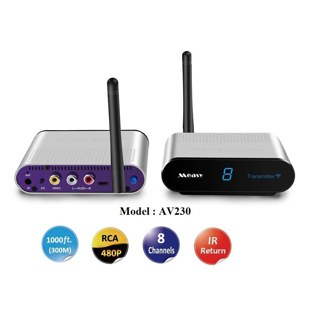 bis zu 300 M//1000 F/ü/ße mit IR-R/ückkopplungsfunktion RCA Measy AV230 2,4 GHz Wireless AV Sender Transmitter Empf/änger