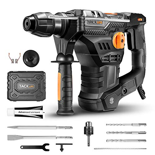 TACKLIFE 1-1/4 Inch SDS-Plus 12.5 Amp Rotary Hammer Drill, 7Joules Impact Energy, 4350BPM, 900RPM, 4 Functions, Vibration Damping Technology, Safty Clutch, Ideal for Concrete and Stones -TRH01A