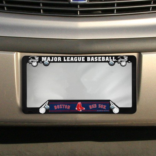 MLB Boston Red Sox Black Plastic License Plate Frame (Boston Red Sox License Plate Frame)