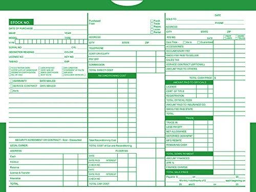 Printed Color Top Detailed Deal Jackets (100 per pack) - Vehicle Dealer Envelopes (Green) -