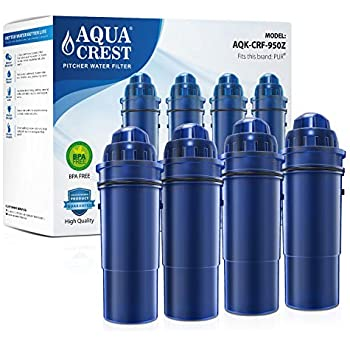 AQUACREST CRF-950Z Pitcher Water Filter, Compatible with Pur Pitchers and Dispensers PPT700W, CR-1100C, DS-1800Z and More (Pack of 4)