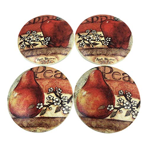 (Set of 4 Apples and Pears Print Wood Cabinet Knobs )