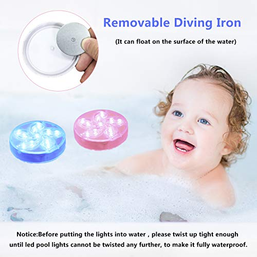 Submersible LED Lights,RGB 13 LED with Magnet Suction Cups,RF Remote IP68 Waterproof Pool Lights,for Garden Pool Fish Tank Decorations 2 Pack