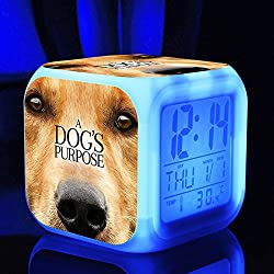 Hot TV Movie A Dog's Purpose Figures Felicie Victor Desktop Alarm Clock with 7 Changing Colors Cute Cartoon LED Clock (Style 7)