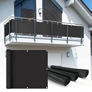 Amazon De Balkon Sichtschutz 6x0 75 M Anthrazit Balkonsichtschutz