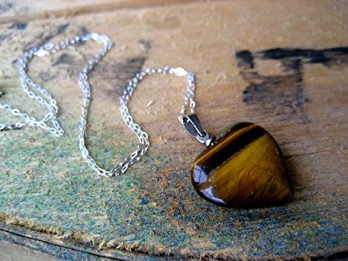 vanyjewl VANY 70s Tigerseye Gemstone Heart Pendant Necklace Sterling Silver Chain Jewelry/Heart of Stone Collection/Natural Tiger's Eye Amber Brown ()