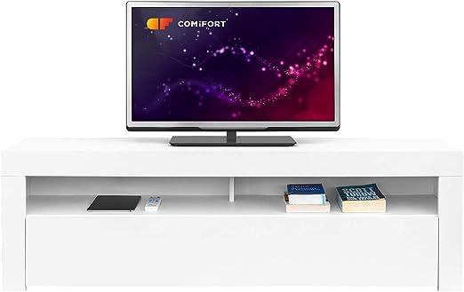 Comifort AP84B – Mueble TV Salón Moderno Mesa Televisión, Colores: Blanco, Blanco/Roble, Roble, Medidas: 160x35x50 Cm (Blanco): Amazon.es: Electrónica
