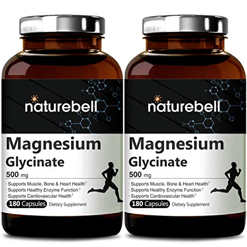 NatureBell Magnesium Glycinate 500mg, 180 Capsules, Supports Muscle, Bone, Joint, Heart Health and Enzyme Function, No GMOs, No Gluten and Made in USA (Best Magnesium For Heart Health)