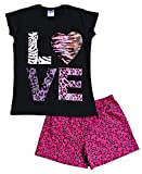 Love Pyjamas Girls Animal Print Short Pjs 9 to 13 Years Black (11-12 Years, Black)