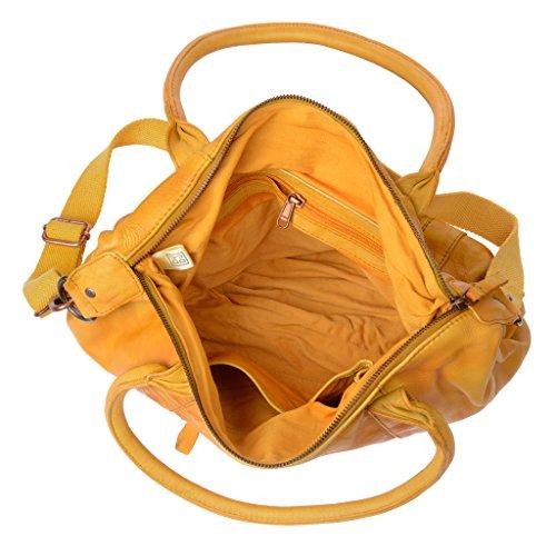 Borsa donna in pelle tinta in capo con 2 manici e tracolla DUDU Saffron Yellow