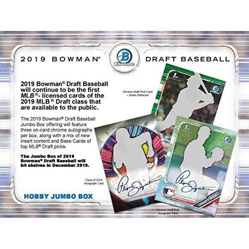 2019 Bowman Chrome Draft Picks - 2019 Bowman Draft Baseball Hobby Jumbo Box (12 Packs/32 Cards: 3 Autos, 24 Parallel)