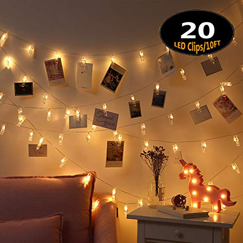 LLOP Photo Light String,Battery Powered Fairy Lights with Clips for Christmas Decoration Wedding Birthday Party Festival(10ft 20LEDS/20ft 40LEDS)