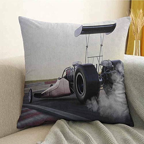 Cars Bedding Soft Pillowcase Dragster Racing Down The Track with Burnout Competition Speed Sports Technology Hypoallergenic Pillowcase W16 x L24 Inch Grey Black White ()