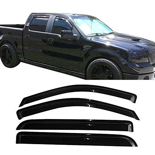 Window Visor Fits 2004-2008 Ford F150 Supercrew Cab | Acrylic Black Slim Style Sun Rain Guards Cover By IKON MOTORSPORTS | 2005 2006 2007