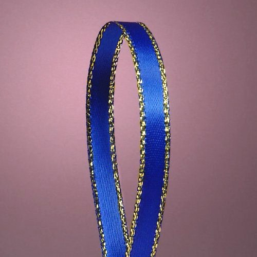 Royal Blue Double Face Satin Ribbon with Gold Border, 1/4
