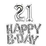 Anagram 21st birthday party balloons supplies and decorations in silver