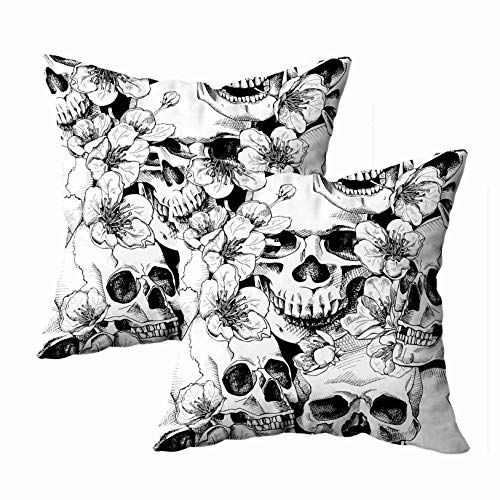 EMMTEEY Pattern Pillow Covers, 18x18 Pack 2 Pillow Covers Home Throw Pillow Covers Sofa Pattern Sofa Pillows Pattern with Image Skull and Flowers Cherry a Square Double Sided Printing -