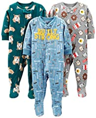 Three sets of gripper-foot pajamas featuring fun patterns and appliques
