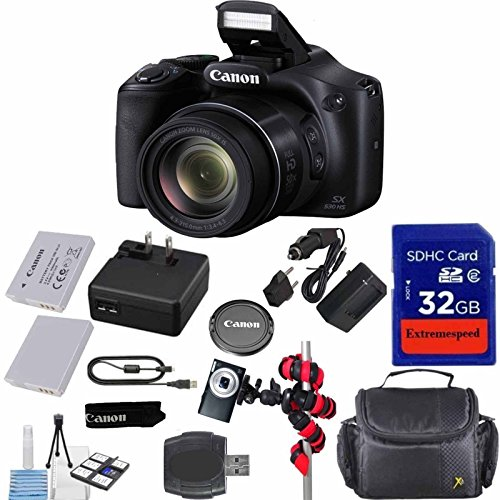 Canon Powershot SX530 HS 16.0 MP Digital Camera with 50x Zoom, Wi-Fi & 1080p Full HD Video + Extra Battery + Extremespeed 32GB Commander Memory + Spider Flexible Tripod + Deluxe Carrying Case by Celltime Inc.