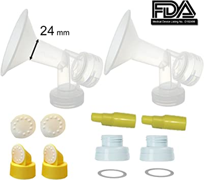 S2 M1 Standard Spectra 9; Narrow 21 mm Small Flagne w// Valve and Membrane for SpeCtra Breast Pumps S1 Bottle Neck; Made by Maymom