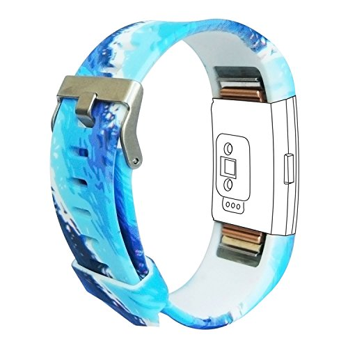 Fitbit Charge 2 Band, Fitbit Replacement Rubber Wristband Strap for Fitbit Charge 2,blue ocean,Large
