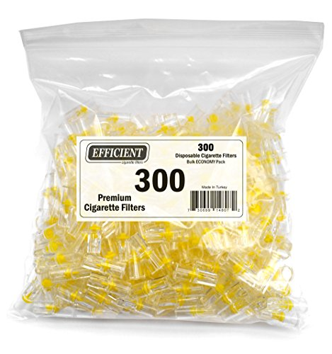 EFFICIENT Disposable Cigarette Filters Bulk Economy Pack, 300 Per Pack