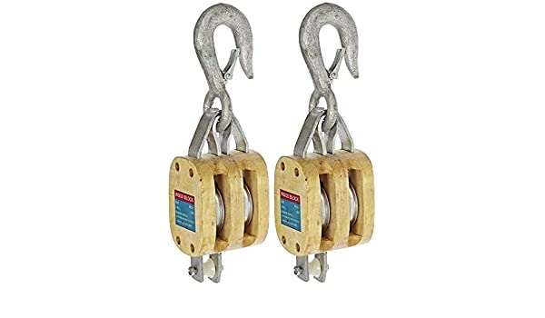 1200 lbs Load Capacity Indusco 16900081 5 Single Wood Manila Rope Block with Hook 3 Sheave 5//8 Rope